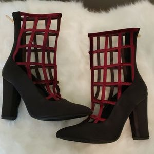 Caged cutout gladiator ankle booties